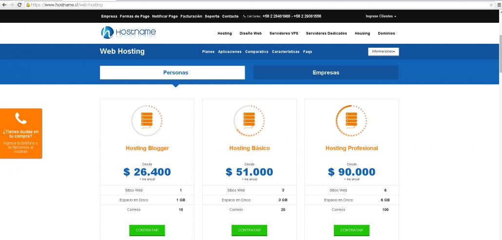 contratar web hosting
