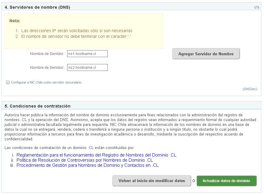 Configuración de DNS NIC Chile